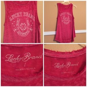 Lucky Brand Pink Burnout Tank Size Large